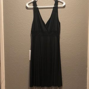Black lace strap dress.